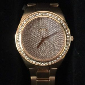 Rose gold rhinestone face women's watch